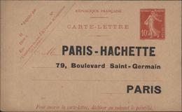 Entier Carte Lettre E8d Semeuse Date 243 Non Perforée Repiquage Paris Hachette Timbré S Commande Intérieur Tout Imprimé - Entiers Postaux