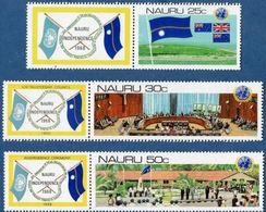 Nauru 1980 Deecolonisation 3 Values Wirh Tabs MNH UNO Conference Room - Nauru