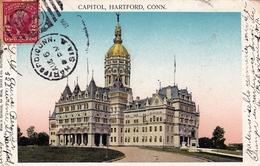 Post Card Hartford 1906 Connecticut Capitol Bruxelles Belgique Taxe - Vereinigte Staaten