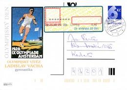 N0552 - Czech Rep. (2002) 140 02 Praha 42 (postcard) Valuable Label APOST (rotated Printing); 6,40 CZK; AMSTERDAM 1928 - Summer 1928: Amsterdam