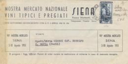 Italia 1951 Piego Mostra Mercato Nazionale Vini A Siena Con 5 Lire Italia Al Lavoro - Agricoltura