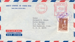 Costa Rica 1969 Cover To USA With Meter Cancel 50 Cts + Stamp 5 Cts - Costa Rica