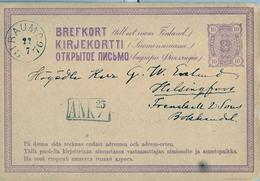 1876 FINLANDIA ,  ENTERO POSTAL CIRCULADO , RAUMO - HELSINKI - Finlande