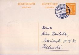 1937 FINLANDIA ,  ENTERO POSTAL CIRCULADO , HÄMEENLINNA - HELSINKI - Finlande
