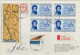 1986 , FINLANDIA ,  , YV. 966 BL / 4 , MAUPERTUIS ,  GLOBO TERRESTRE , COMPÁS , TRINEO - Finlandia