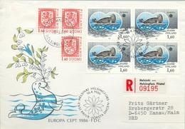 1986 , FINLANDIA ,  , YV. 949 BL / 4  ,  TEMA EUROPA , FOCA , FAUNA MARINA - Finlandia