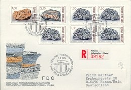 1986 , FINLANDIA ,   YV. 946 / 948 + 946 BL / 4  ,  TEMA GEOLOGIA , MINERALES - Geología