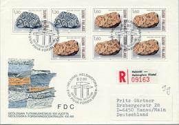 1986 , FINLANDIA ,   YV. 946 / 948 + 947 BL / 4  ,  TEMA GEOLOGIA , MINERALES - Geología