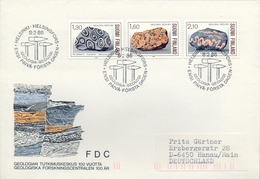 1986 , FINLANDIA ,   YV. 946  / 948 ,  TEMA GEOLOGIA , MINERALES - Geología