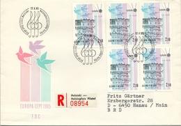 1985 , FINLANDIA ,   YV. 933 BL / 4 , SOBRE DE PRIMER DIA , TEMA EUROPA , MÚSICA - Finlandia