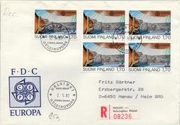 1983 , FINLANDIA ,   YV. 891 BL / 4 , SOBRE DE PRIMER DIA , ARQUITECTURA - Finlandia