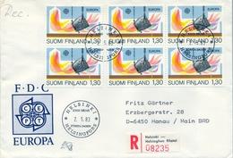 1983 , FINLANDIA ,   YV. 890 BL / 4 , SOBRE DE PRIMER DIA , INDUSTRIA - Finlandia
