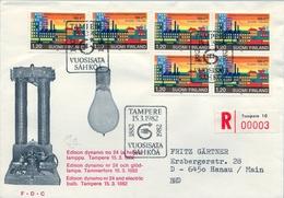 1982 , FINLANDIA ,   YV. 861 BL / 4 , SOBRE DE PRIMER DIA , CENTENARIO DEL SERVICIO DE ELECTRICIDAD EN EL PAIS - Finlandia