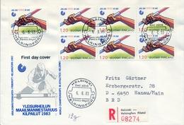1983 , FINLANDIA ,   YV. 893 BL / 4 , SOBRE DE PRIMER DIA ,  DEPORTES , ATLETISMO - Finlandia
