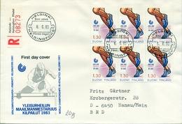 1983 , FINLANDIA ,   YV. 894 BL / 4 , SOBRE DE PRIMER DIA ,  DEPORTES , ATLETISMO - Finlandia