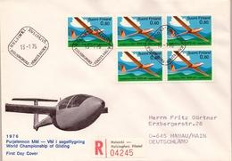 1976 , FINLANDIA ,   YV. 743 / BL 4   , SOBRE DE PRIMER DIA ,  VUELO SIN MOTOR , AVIACIÓN , AVIONES - Finlandia