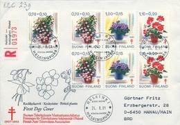 1981 , FINLANDIA ,   YV. 849 / 851  , SOBRE DE PRIMER DIA ,  FLORES - Finlandia