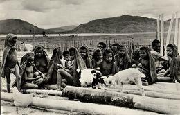 Dutch New Guinea, Native Papua School Children At Bomou, Lake Tage (1950s) RPPC - Papoea-Nieuw-Guinea