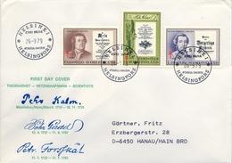 1979 , FINLANDIA ,   YV. 808 / 810   , SOBRE DE PRIMER DIA , CIENTÍFICOS - Finlandia