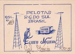 PELOTAS RG DO SUL. BRASIL ELISEU NOGUEIRA. QSL 163. LCG52A CIRCULE 1959 RADIO CLUB ARGENTINO - BLEUP - Radio-amateur