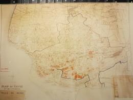 Le Havre - Cartes Géographiques Plastifiées - Plans Du Havre - Zones De Bombardements -  Relevé Octobre 1945 - TBE - - Geographical Maps