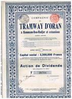 Action Ancienne - Tramways D'Oran à Hammam-bou-Hadjar Et Extensions - Titre De 1912 - N°20768- VF - Chemin De Fer & Tramway