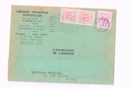 """""""LIbrairie Technique Waroquier,rue Du Temple,La Louvière"""""""" Sur Carte . Expédié à Namur. - 1951-1975 Lion Héraldique"""