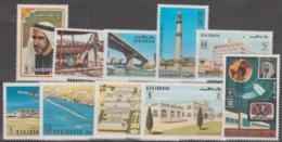 DUBAI - 1970-71 Set Of 10 - Planes, Buildings. Scott 134-143. Mint Very Lightly Hinged * - Dubai