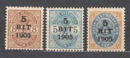 Denmark Danish Antilles (West India) 1905 Mi#38-40 Yvert#24-26 Mint Hinged - Denmark (West Indies)
