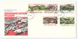 New Zealand 1984 FDC Scott 803-807 Endangered Animals / Amphibians & Reptiles - FDC