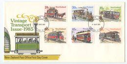 New Zealand 1985 FDC Scott 818-823 Vintage Transport Streetcars & Trams - FDC