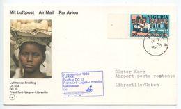 Nigeria 1985 Lufthansa LH 558 DC 10 1st Flight Cover Lagos To Libreville Gabon - Nigeria (1961-...)