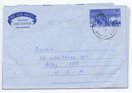 Nigeria 1991 Stone Quarry Aerogramme Victoria Island To Albany New York - Nigeria (1961-...)