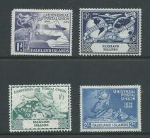 Falkland Islands 1949 UPU Set 4 Fine Mint , Low Value With Rounded Corner - Falkland Islands