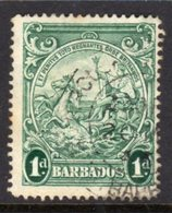 BARBADOS - 1938-1947 ONE PENNY BLUE-GREEN DEFINITIVE 1938 COLONY SEAL PERF 14 REF C USED SG 249bc - Barbades (...-1966)