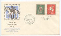 Saar 1958 FDC Scott B121-B122 Fairy Tales - FDC