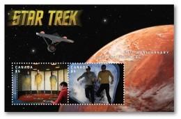 2016 Canada Star Trek 50th Anniversary Minisheet Of 2 Lenticular Souvenir Sheet Animated MNH - Holograms