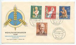 Saar 1958 FDC Scott B123-B126 Friedrich Wilhelm Raiffeisen & Farm Workers - FDC