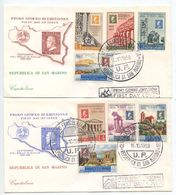 San Marino 1959 2 FDCs Scott 439-445, C110 Centenary Of Stamps Of Sicily - FDC