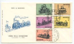 San Marino 1964 FDC Scott 594-598 History Of Locomotives / Trains - FDC