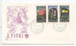 San Marino 1967 FDC Scott 654-656 Flowers & Views Of Mt. Titano - FDC