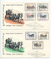 San Marino 1969 2 FDCs Scott 703-709 19th Century Horse-Drawn Coaches - FDC