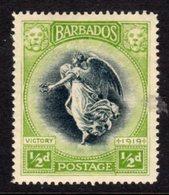 BARBADOS - 1920 HALF PENNY WINGED VICTORY WMK MULT CROWN CA MINT MM * HINGE REMNANT SG 202 - Barbados (...-1966)