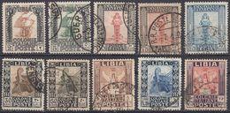 LIBIA (COLONIA ITALIANA) - Lotto Di 10 Valori Usati: Yvert 45/51, 53, 60 E 61, Come Da Immagine. - Libia
