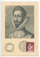 Spain 1954 Marinol Pharmaceutical Advertising Postcard Of Felix Lope De Vega, Sc. 773 - 1951-60 Covers