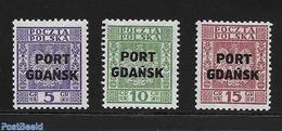 Poland 1934 Port Gdansk, Overprints 3v, (Unused (hinged)), Stamps - 1919-1939 Republic