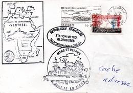FS VENTOSE Cachet TLD + Zone De La Ligne + Station Méteo Glorieues Obl. Dzaoudzi (Mayotte) 16/02/93 - Marcophilie (Lettres)