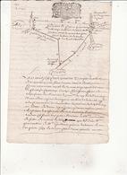 14 Avril 1698 Procés Verbal De Bornage Du Quart De Reserve Du Bois De Samouillan Avec Plan Geometrique ( 4 Scans ) - Cachets Généralité
