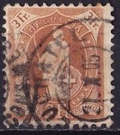 SCHWEIZ / SUISSE / SWITZERLAND :1882 Stehende Helvetia Kontrollzeichen 1 3 Fr. Braun Zähnung 11½ : 12   Michel 64 D - Gebruikt