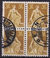 Switzerland / Schweiz / Suisse : 1908  Stehende Helvetia 3  Fr Braun/gelb Viererblock Michel 110 X - Zwitserland